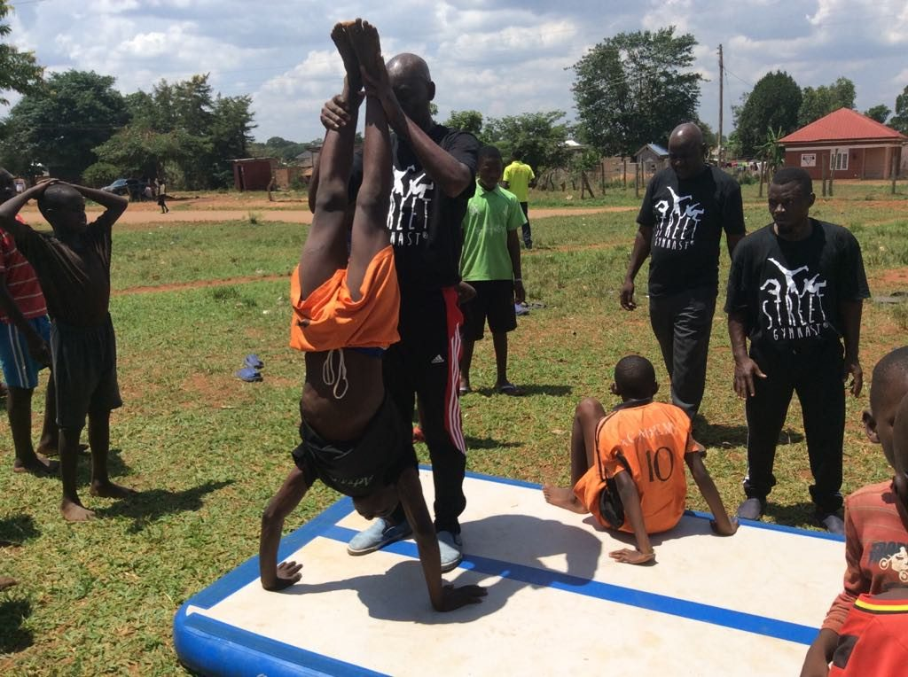 First workshop with Street Gymnastics Uganda, YMCA vocational school