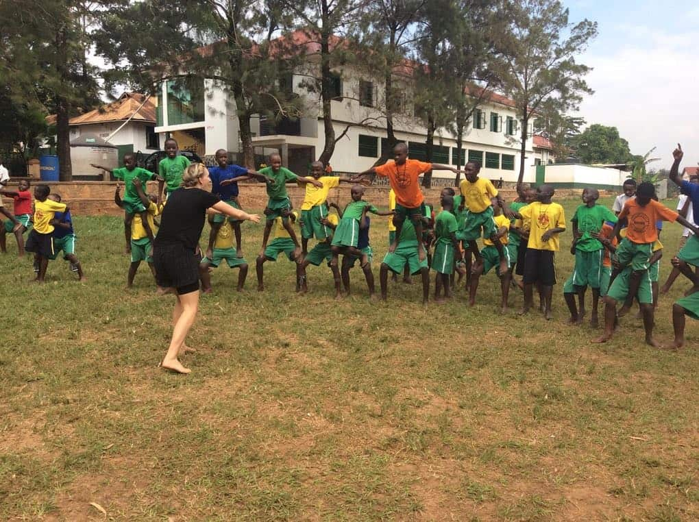 Gymnastics workshop with Cecilie and Nicoline at St. Peters Primary School, Kampala, Uganda for a week