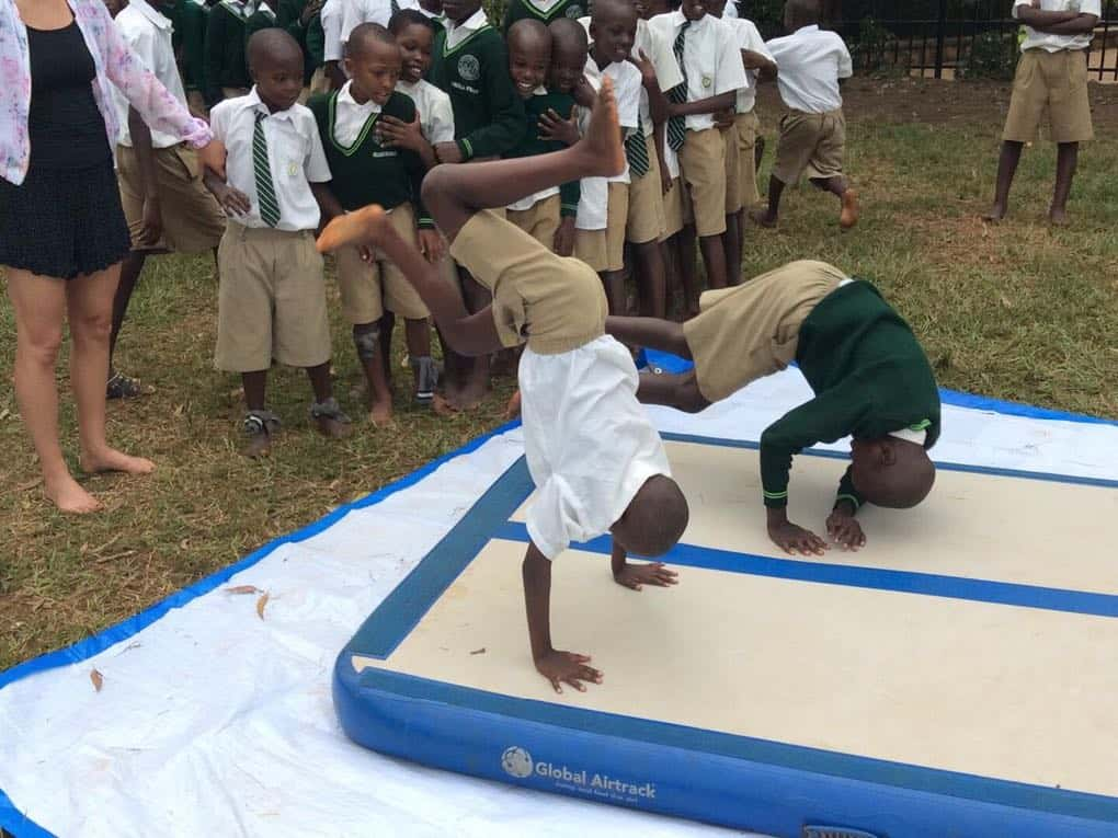 Street Gymnast TV proudly presents workshop with Cecilie and Nicoline from Denmark visited St. Peters Primary School, Kampala, Uganda for a week. Global Airtrack - PE Redskaber