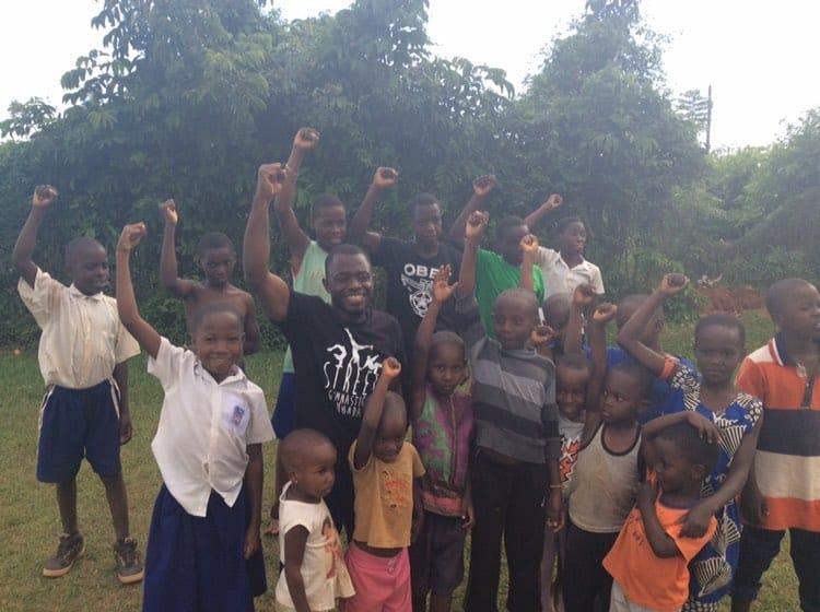 Street Gymnastics Uganda workshop with the USAPE children and the Acrobatics. Kidda.